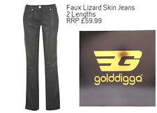 BNWT GOLDDIGGA Ladies Black Lizard-Skin Pants/Jeans 8-16 Long/Tall Designer NEW