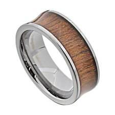 Wood Inlay White Polished Edge 8mm Tungsten Men's Wedding Ring Brown