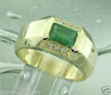 1.01 ct 14k Yellow Gold Mens Diamond Emerald Cut Colombian Emerald Ring 9.40gram