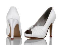 Blanco Satén De Novia / Dama Honor Zapatos Boda 4,5, 6,7, 8 Puro & PRECIOSO Lola