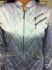 Express Jacket  Sz 8 Silver Quilted Zipper Down Designer Fashion Hip Chic