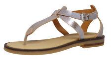 Momino 3617V Leder offene Sandalen Schuhe Mädchen Silber-Blau Gr. 32 - 40 Neu
