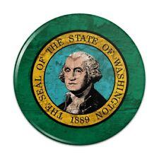 Rustic Washington State Flag Distressed USA Pinback Button Pin Badge