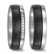 Paar Trauring Ehering Verlobungsring Ringe aus Titan/Carbon mit Brillant Diamant