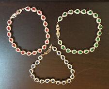 """Pear topaz 925 Sterling Silver Bracelet 7"""" love heart gift Her wedding MOM-BL12"""