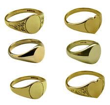 9Ct Oro Amarillo Macizo Sello Anillos Ovalado Corazón 375 Marca UK Mujer