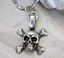 PIRATE BIKER SKULL CROSS BONES Pewter KEYCHAIN Key Ring
