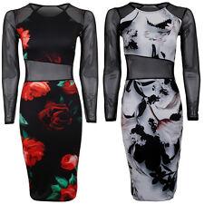Women's Flower Floral Printed Long Sleeve Mesh Insert Pencil Midi Bodycon Dress