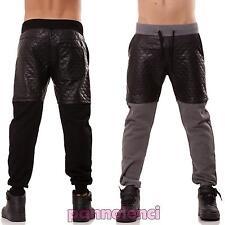 Pantaloni UOMO sport felpati tuta cavallo basso ecopelle harem casual nuovi 1497