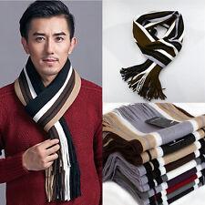 Men Cashmere Scarf Super Soft Fringe Striped Tassel Long Shawl Stole Neck Wrap