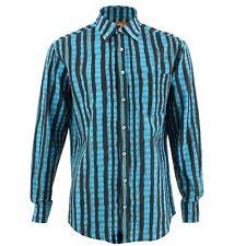 Men's Loud Shirt REGULAR FIT Stripes Blue Retro Psychedelic Fancy