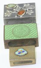 3 1920'S VTG ANTIQUE CHINESE CLOISONNE ENAMEL BATS JADE PEWTER MATCH SAFE