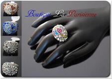 Luxus Ring Strass Damenringe Fingerringe Kristall Metall Versilbert Lideva Paris