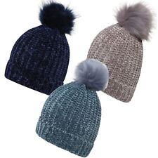 Femmes Côtelé Coupe-vent Chenille Turn Up Pom Navy vison Turq chapeaux casquettes taille unique