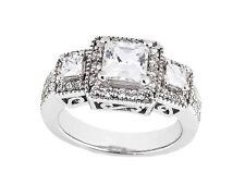 1.75Ct Princess Round Cut Diamond Triple Halo Engagement Ring 14k Gold GH SI1