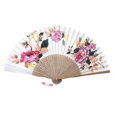 "Korean Traditional Handicraft Silk Hand Fan Norigae 8"" Folding Gift Rose"