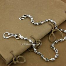 Huge & Heavy Skulls Hook Mens Biker 925 Sterling Silver Wallet Chain 8W004WCD