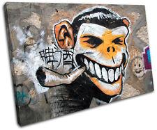 Monkey Urban Smoking Graffiti SINGLE CANVAS WALL ART Picture Print VA