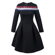 Women's Black Sheer-Neck Flare Dress. New! Ship Free!