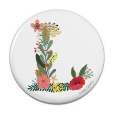 Letter L Floral Monogram Initial Pinback Button Pin Badge