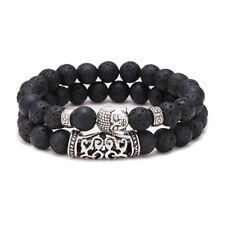 2Pc Charm Mens Lion Bracelet Set Handmade Lava Stone Bead Silver Buddha Head 8MM