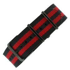 Watch Band Nylon One Piece Military Sport Red Black Stripe Black NYL100RED