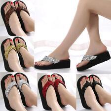 Women's Summer Sequins Anti-Slip Sandals Girl Wedge Heels Slippers Flip-flops US