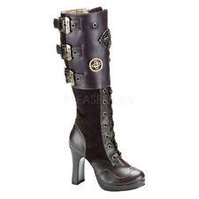 Demonia Crypto-302 Brown Boots - Gothic,Goth,Steampunk,Black,Brown,Boots,Heels,S
