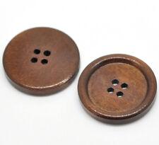 El botón del grano y Caja de Madera con borde de los botones de color castaño 30mm