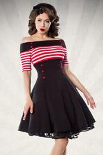 50er anni pin up vintage Rockabilly Abito Retro-abito belsira STRIPES RED WHITE