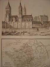 Gravure Abbaye de SAINT GERMAIN DES PRES  Carte France