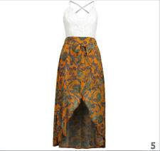 EthnicStyle Golden Printed Chiffon Skirt Maxi Dress Evening Party Beach Sundress