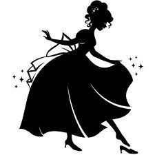 Sticker Geant XXL, Princesse Gracieuse et sa chaussure, 40x34 à 70x60cm (PRI010)