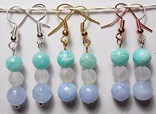 Amazonite + Crystal bead earrings - silver, rose, gold