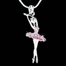 w Swarovski Crystal Purple BALLERINA Ballet Dancer Teacher Pendant Necklace Xmas