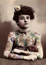 Antiguo Circo Freak Show Mano teñida de fotografía de Tatuado Lady A3 Reimpresión
