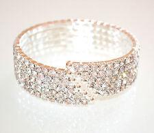 BRACCIALE RIGIDO STRASS ARGENTO donna elegante cristalli sposa  5 fili E150
