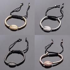Men White Zircon Shell&Plated Beads Adjustable Friendship Braided Bracelets