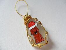 Santa hat puppy dog floppy ear- Hand painted sea glass Christmas tree decoration