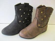 Girls Spot On Black/ Brown Stud Boots  UK 10-2  H4086