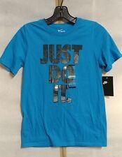 "Nike Boys "" Just Do It. "" Cotton Graphic Shirt Size S, M, L # AH3222 406"