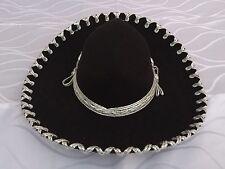 "Mexican Mariachi Hat Black/Silver 14"".Sombrero Mariachi Negro/Plata de Mexico"