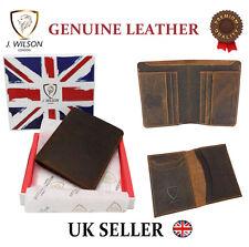 Designer J Wilson Mens Quality Real Leather Distressed Wallet Hunter Vintage