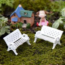 Mini Garden Ornament Miniatures Park Bench 2pcs Craft Fairy Dollhouse Decor DIY