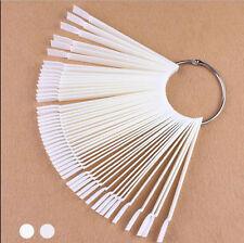 50 False Display Nail Art Fan Wheel Polish Practice Tip Sticks Design Decor fb