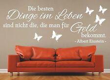 X2094 Wandtattoo Spruch - Die besten Dinge im Leben Geld Zitat Einstein Sticker