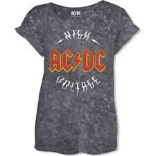 06e17a0b AC/DC Ladies Fashion Tee: Logo High Voltage (Acid Wash)