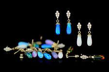14k-Yellow Gold  Dangle Opal Cz Stud Earrings / Screw Back