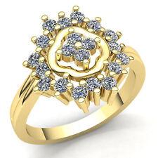 Genuine 0.5ctw Round Diamond Ladies Flower Anniversary Engagement Ring 14K Gold