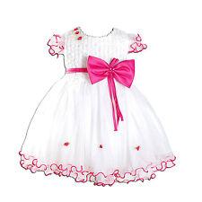 Fiesta Flor Niña Bautizo Vestidos Marfil Rosa Color De Rosa Caliente 3 6 9 12